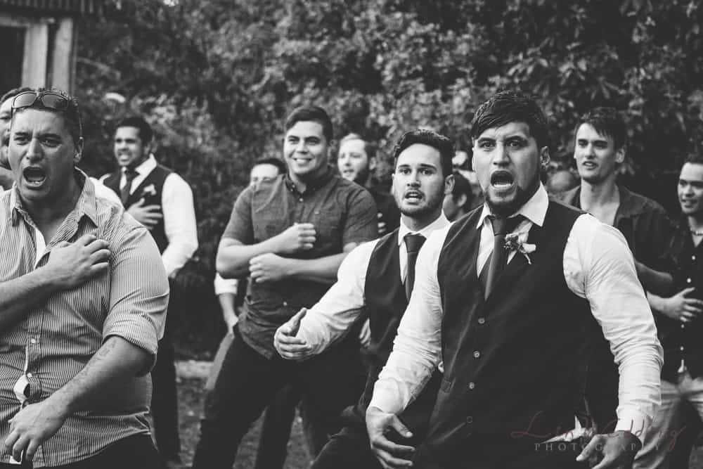 A haka moment at a Pamerston North wedding capture by Lin wedding photography